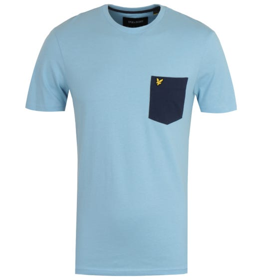Lyle & Scott Fresh Blue & Navy Contrast Pocket T-Shirt