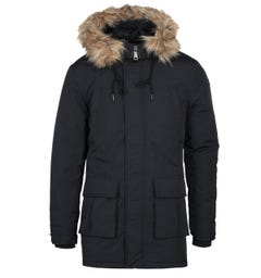 Schott Faux Fur Hood Black Padded Jacket