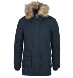 Schott Faux Fur Hood Navy Padded Jacket
