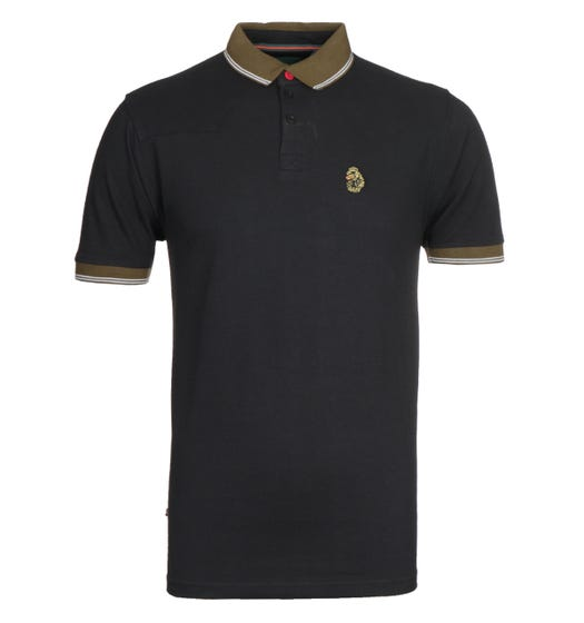 Luke 1977 Regular Fit Tipped Black & Khaki Polo Shirt