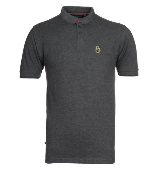 Luke 1977 Regular Fit Tipped Charcoal Polo Shirt