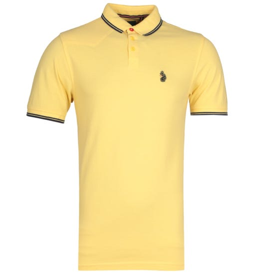 Luke 1977 Regular Fit Tipped Yellow & Navy Polo Shirt