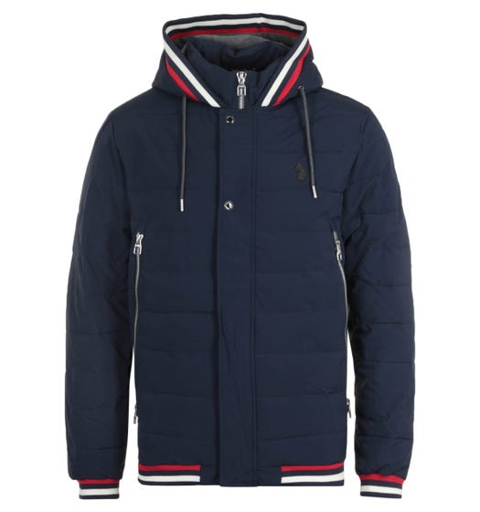 Luke 1977 Quinn Dark Navy Quilted Hooded Jacket