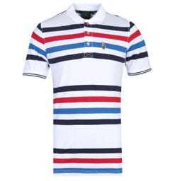 Luke 1977 New Mead Contrast Stripe White Polo Shirt