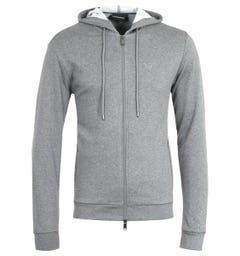 Emporio Armani Zip-Through Grey Marl Hooded Sweatshirt