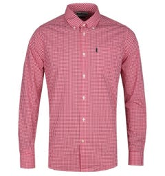 Barbour Gingham 2 Tailored Fit Long Sleeve Red Check Shirt
