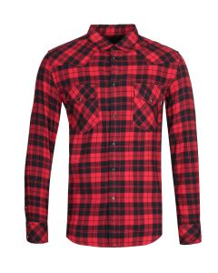 Diesel S-East Long Red & Navy Checked Shirt