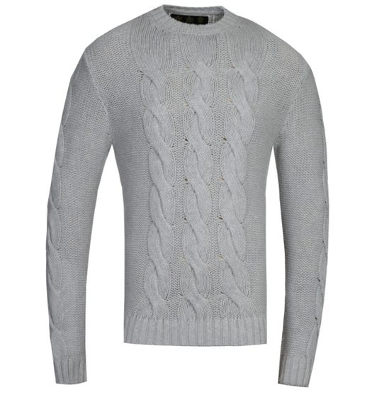 Barbour Gold Standard Lennox Grey Cable Knit Sweatshirt