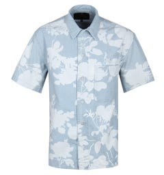Vivienne Westwood Sky Blue Absence Of Rose Print Bowling Shirt