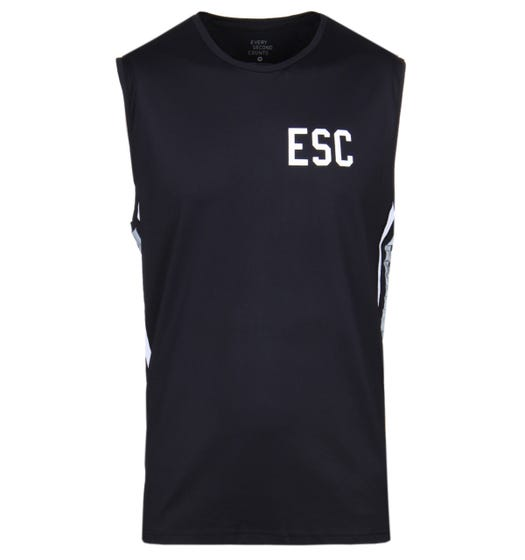 Every Second Counts Black Track Tank Top