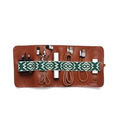 Mantidy Tan Handwoven Leather Tech Roll