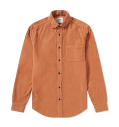 Portuguese Flannel Lobo Corduroy Brick Brown Long Sleeve Shirt