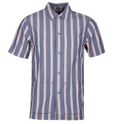 Nudie Svante Cuban Stripe Blue Shirt