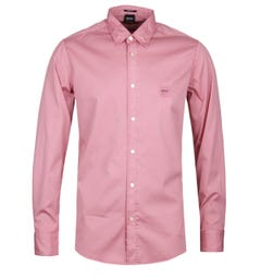 BOSS Reverse Garment Dyed Pink Shirt