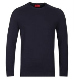 HUGO Sgrid Navy Cotton Sweatshirt