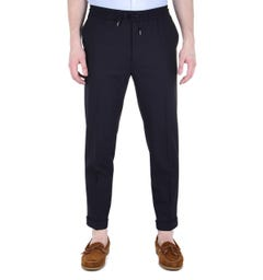 BOSS Oliwer Relaxed Fit Navy Drawstring Trousers