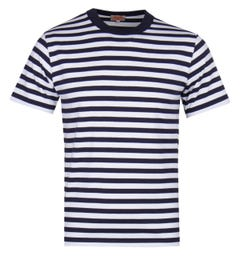 Armor Lux Short Sleeve Stripe Navy T-Shirt