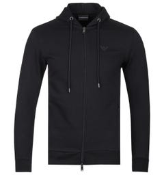 Emporio Armani Zip-Through Black Hooded Sweatshirt