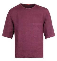 Barena Linen Burgundy Pocket T-Shirt