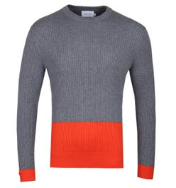 Calvin Klein Wool Cotton Grey Colour Block Sweater