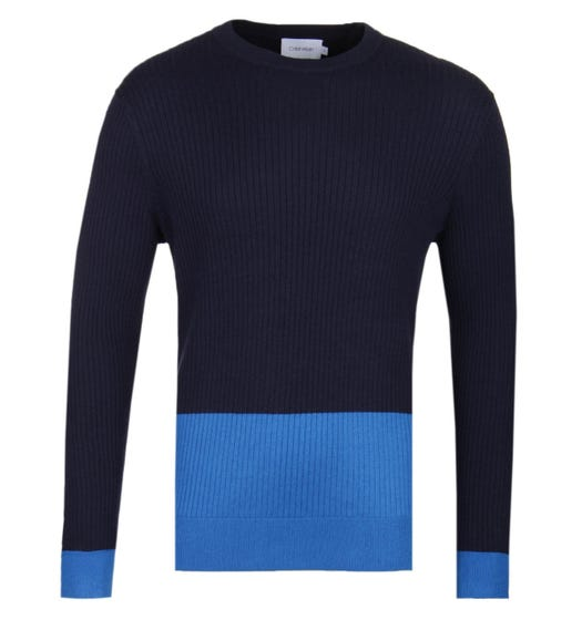 Calvin Klein Wool Cotton Navy Colour Block Sweater