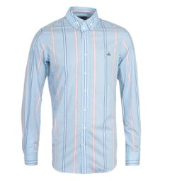 Vivienne Westwood Twin Colour Striped Long Sleeve Sky Blue Shirt