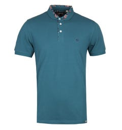 Pretty Green Paisley Print Collar Teal Polo Shirt
