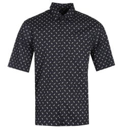Diesel S-Atwood-B Banana Print Black Short Sleeve Shirt