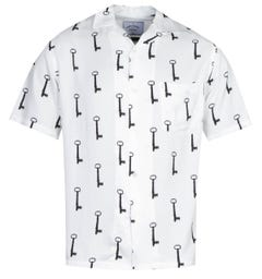 Portuguese Flannel Key Pattern White Short Sleeve Shirt