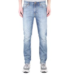 Nudie Jeans Co Lean Dean Slim Fit Broken Sage Blue Denim Jeans