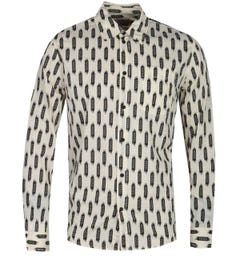 Nudie Jeans Co Chuck Print Ecru Long Sleeve Shirt