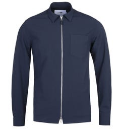 NN07 1352 Deep Navy Seersucker Long Sleeve Zip Shirt