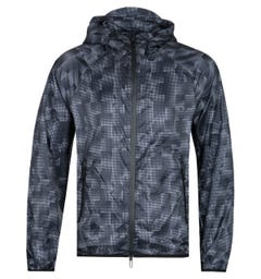 Emporio Armani All-Over Eagle Print Lightweight Black & White Hooded Jacket