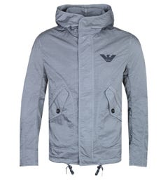 Emporio Armani Metallic Finish Steel Grey Hooded Lightweight Jacket