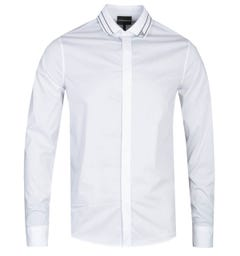 Emporio Armani Slim Fit Branded Collar Long Sleeve White Shirt