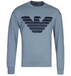 Emporio Armani 3D Embroidered Logo Steel Blue Sweatshirt