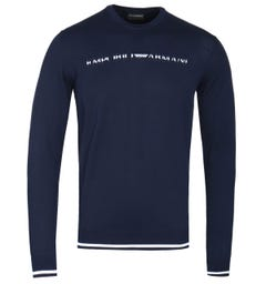 Emporio Armani Contrast Logo Navy Knitted Sweater