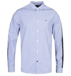 Armani Exchange Regular Fit Taped Blue Striped Long Sleeve Shirt