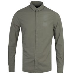 Armani Exchange Regular Fit Long Sleeve Military Green Seersucker Shirt