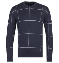 Armani Exchange Contrast Check Knit Navy Sweater