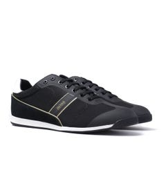 BOSS Glaze Mesh Black & Gold Detail Trainers