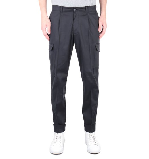 BOSS Kirio-Pleats Black Relaxed Fit Cargo Trousers