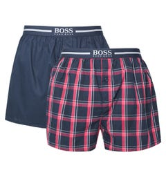 BOSS 2 Pack Red Check & Black Boxers