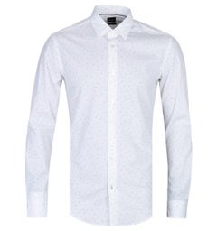 BOSS Ronni Cocktail Print Slim Fit White Poplin Shirt