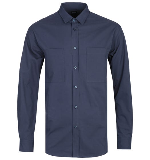 BOSS Noah T Relaxed Fit Navy Overshirt