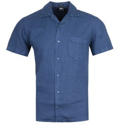 BOSS Rhythm Regular Fit Short Sleeve Navy Linen Shirt