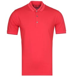 HUGO Demoso202 Slim Fit Short Sleeve Collar Logo Red Polo Shirt