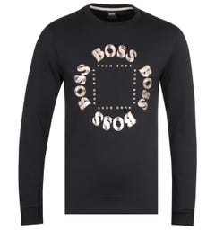 BOSS Salbo Circle Logo Black Crew Neck Sweatshirt
