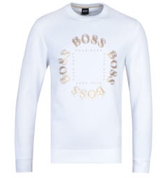 BOSS Salbo Circle Logo White Crew Neck Sweatshirt
