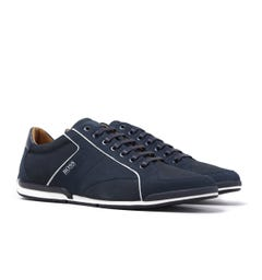 BOSS Saturn Navy Nubuck Leather Trainers